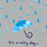 Rainy day vector illustration. Royalty Free Stock Image