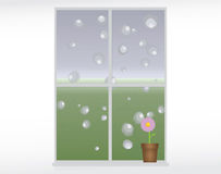 Rainy day. Vector illustration of rain drops on a window Stock Image