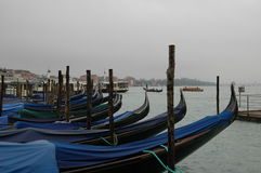 A rainy day, and Venice, as well as gondolas Royalty Free Stock Image