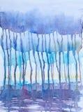 Rainy day watercolor painting Stock Photo