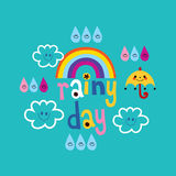 Rainy day weather design with cute clouds umbrella rainbow raindrops Stock Images