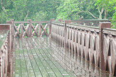 Rainy Day and Wooden Bridge Royalty Free Stock Photography