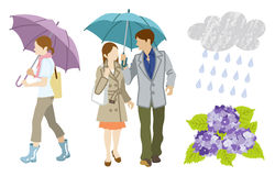 Rainy day Young Adults Clip Art set Stock Photo