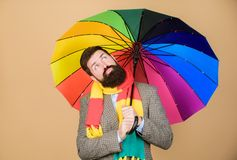 Rainy days can be tough to get through. Prepared for rainy day. Carefree and positive. Enjoy rainy day. Predict future. Weather trends. Man bearded guy hold royalty free stock image
