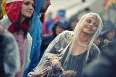 Rainy days at a music festival Royalty Free Stock Image