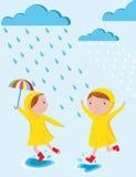 Rainy days vector illustration. Rainy days and kids character and seasonal vector illustration Royalty Free Stock Images
