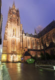 Rainy evening by Frankfurt Cathedral Stock Images