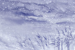 Rainy evening at the seashore watercolor background Royalty Free Stock Photography