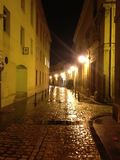 Rainy evening in Spain. Quite tranquility and empty streets. Journey on Saint Santiago Way Royalty Free Stock Images