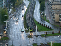 Rainy evening in Utrecht. A tram heads for the city centre in Utrecht one rainy October evening Stock Photos