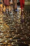 Rainy evening walk. Strolling through the streets of belgrad, serbia on a rainy night stock image