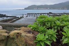 Rainy fishing harbor style. Royalty Free Stock Image