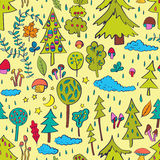 Rainy forest. Seamless pattern. Hand drawn design for fabric, wrapping paper, greeting cards or invitation. Vector illustration Royalty Free Stock Images