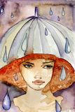 Rainy girl Stock Photos