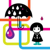 Rainy Girl Illustration Royalty Free Stock Photography