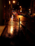 rainy golden street Royalty Free Stock Photo
