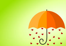 Rainy Hearts Umbrella. Card with space to write and sunlight Stock Photos