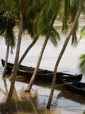 Rainy kerala. Boats on a river in kerala, south india, during the rainy season Royalty Free Stock Photos