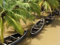 Rainy kerala. Boats on a river in kerala, south india, during the rainy season Royalty Free Stock Images