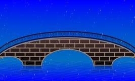 Rainy landscape on the bridge background. Vector art illustration Royalty Free Stock Photo