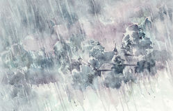 Rainy landscape in the countryside watercolor background Stock Photos