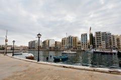 St. Julian`s bay on Malta. Rainy landscape of St. Julian`s bay on Malta island. Beautiful seascape in south Europe Stock Photography