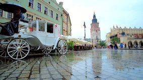 Rainy Market Square, Krakow, Poland stock footage