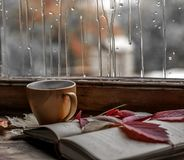 Rainy mood for the book. Near the rainy window with raindrops falling on the glass lie: an open book, a cup of coffee, autumn leaves royalty free stock photo