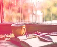 The rainy mood is mixed with a love for books. On the wooden window-sill there is a cup of coffee, an open book, several autumnal multicolored leaves on a royalty free stock images