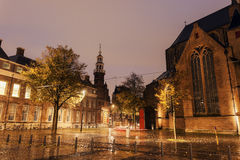 Rainy morning in Hague - Old City Hall. The Hague, South Holland Stock Photo