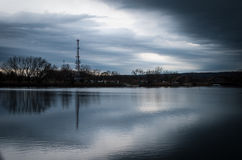 Rainy Morning over the river Royalty Free Stock Images