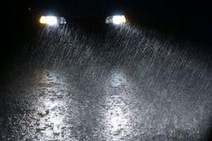 Rainy night. The car is driving on rainy night Royalty Free Stock Image