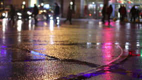 Rainy night in big city stock footage