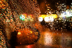 Rainy Night. Through the car window Royalty Free Stock Image