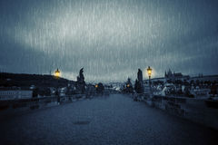 Rainy night on the Charles Bridge Royalty Free Stock Image