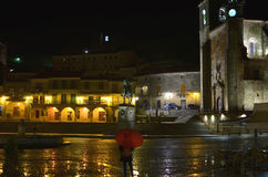 Rainy night in Main Square. Equestrian statue in Main Square. Trujillo, CAceres, Spain royalty free stock image
