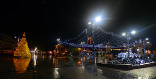 Rainy night in Ohrid, Macedonia Stock Images