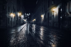 Rainy night. In old European city Stock Image