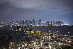 Rainy Night at San Diego Harbor Royalty Free Stock Photo