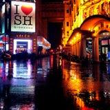 Rainy night in shanghai Royalty Free Stock Photo
