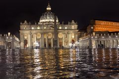 Rainy night in Vatican royalty free stock images