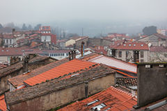 Rainy Old Town Rooftops Royalty Free Stock Images