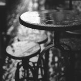 Rainy outdoor table. On the street Stock Photo