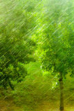 Rainy outside window green background texture. Stock Image