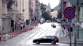 Rainy riga Lacplesa street Road repair stock video footage