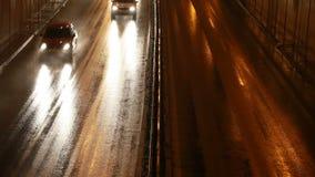 Rainy Road. Wet Rainy City Road at Night stock video footage