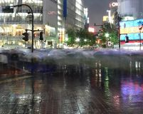 Rainy rush. A blur of pedestrians with clear umbrellas rush to cross the night time road. Shibuya, Tokyo, Japan Stock Photos