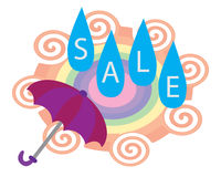 Rainy Sale. Cartoon illustration wallpaper Royalty Free Stock Photo