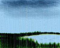 Rainy scene. With lake and grass Stock Photography