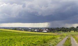 Rainy scenery with small village Royalty Free Stock Photos